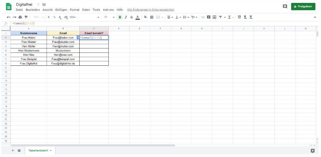 Daten überprüfen Google Tabellen Digitalfrei
