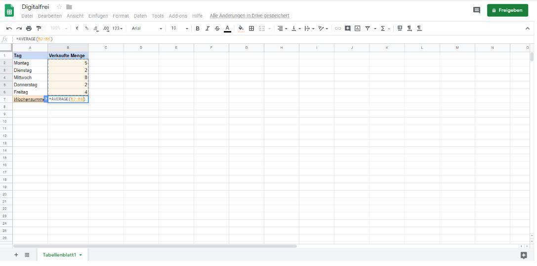 Durchschnitt Google Tabellen Digitalfrei