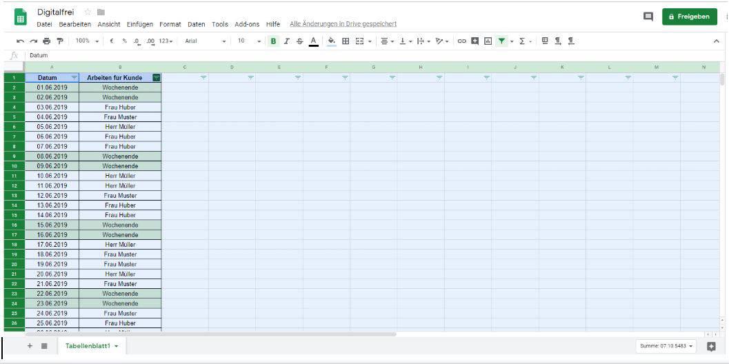 Filtern 2 Google Tabellen Digitalfrei