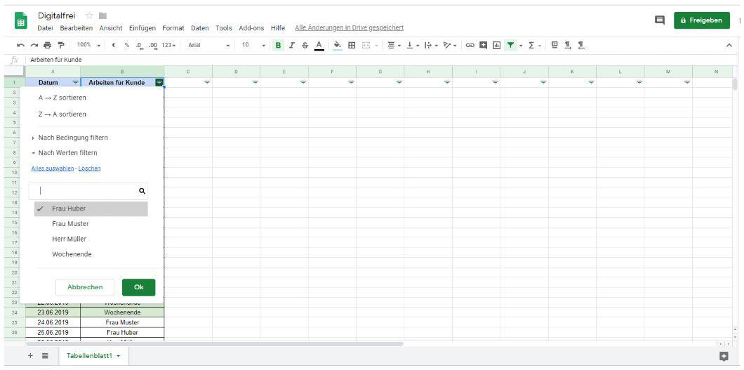 Filtern 3 Google Tabellen Digitalfrei