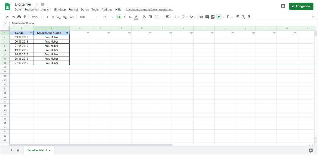 Filtern 4 Google Tabellen Digitalfrei