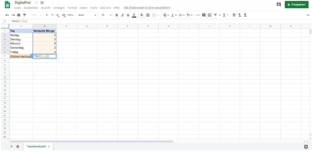 Maximalwert Google Tabellen Digitalfrei