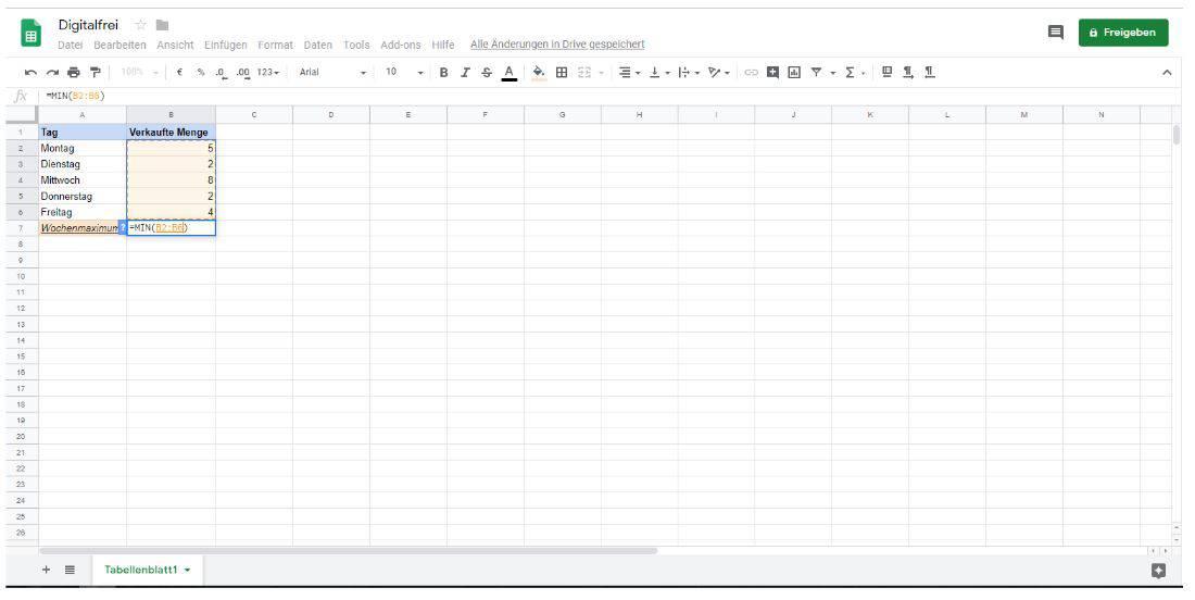Minimalwert Google Tabellen Digitalfrei