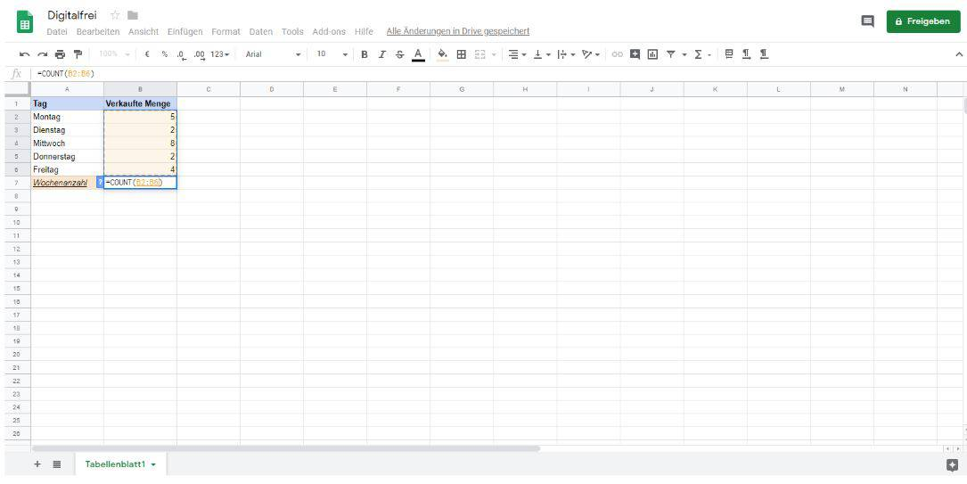 Zählfunktion Google Tabellen Digitalfrei