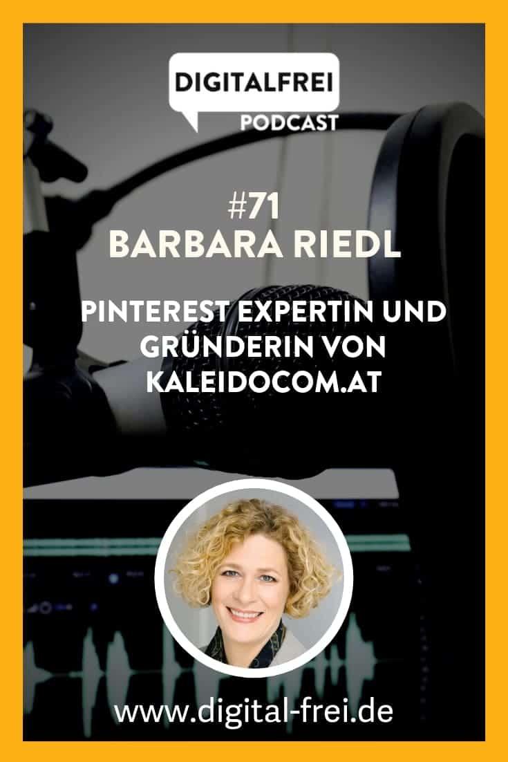 Barbara Riedl von Kaleidocom Pinterest Experting und zu Gast im Digitalfrei Podcast bei Sascha